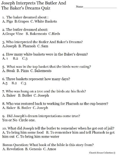 Joseph Interprets The Butler And The Baker's Dreams Quiz