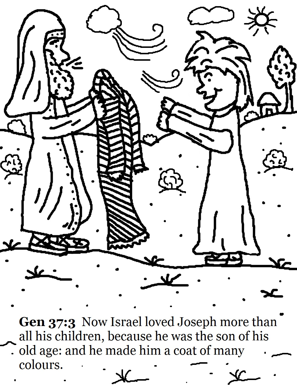 Coloring Pages Joseph Bible Coloring Pages josephs coat of many colors coloring pages israel giving joseph a coat