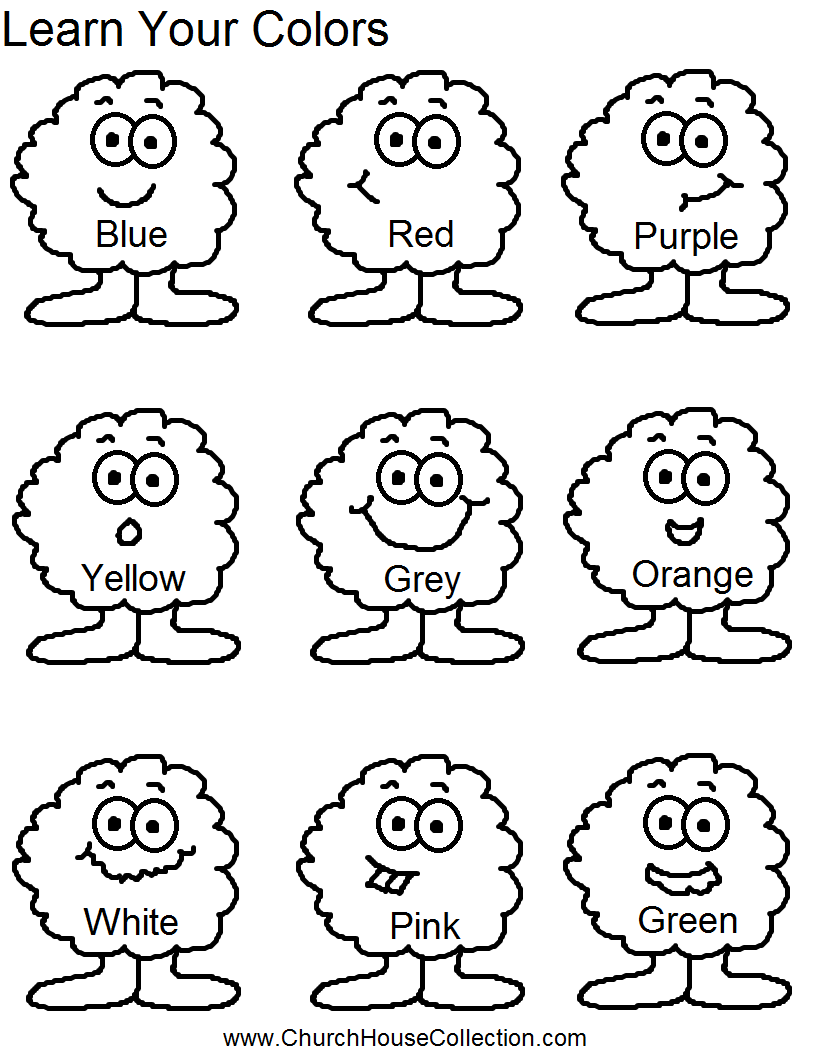 Learn your colors preschool kids worksheet for Learning colors coloring pages