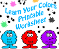 Learn Your Colors Worksheets For Preschool Or Headstart Kids.