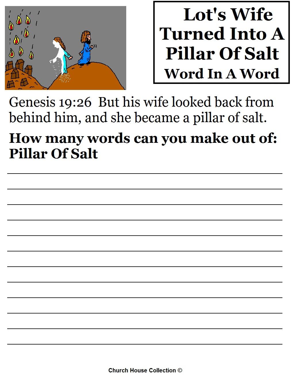 Lots Wife Pillar Of Salt Sunday School Lesson