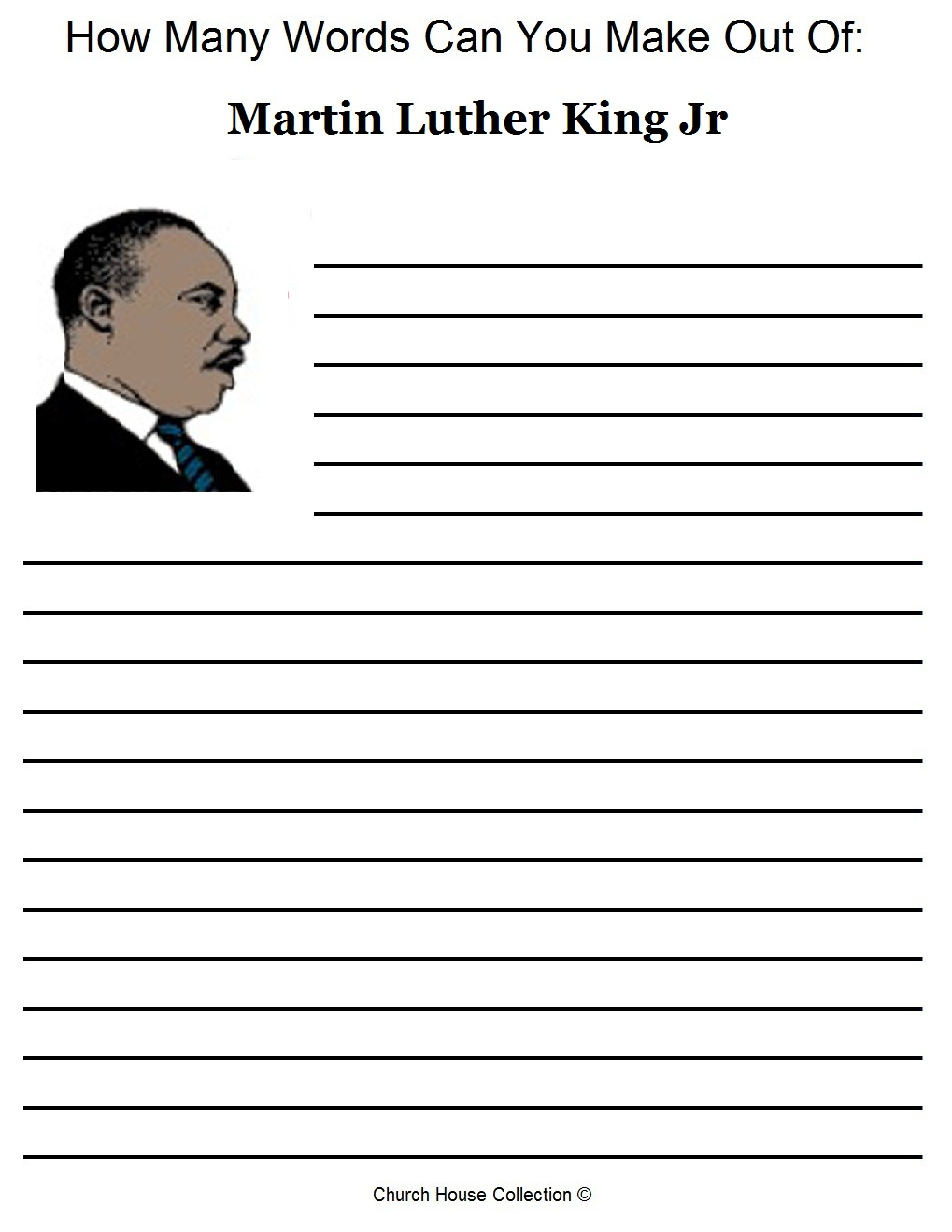 Martin Luther King Jr Activity Sheet