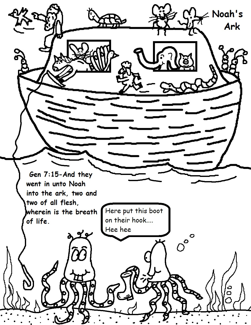 Bible Coloring Pages Noah's Ark - Free Bible Crafts and Bible