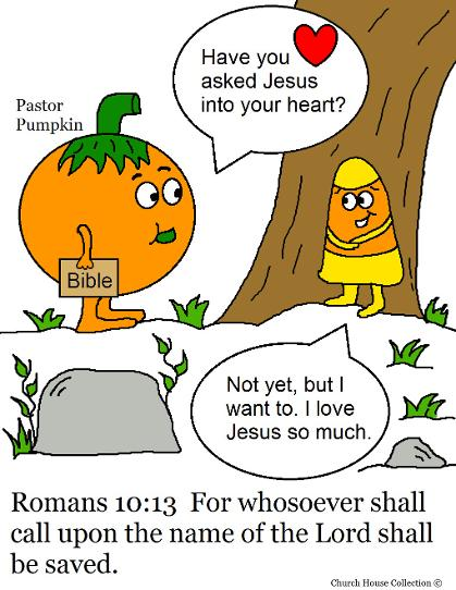 Pastor Pumpkin And Candy Corn Romans 10:13 Coloring Page for Sunday school Children's Church Fall Coloring Sheets