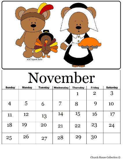 Printable Thanksgiving Pilgrim Indian Teddy bear Turkey Calendar November 2012