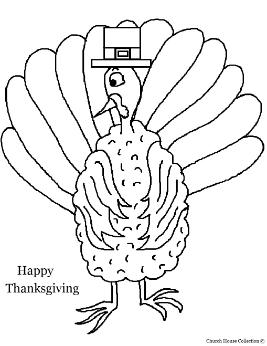 Happy Thanksgiving Day Turkey Coloring Page