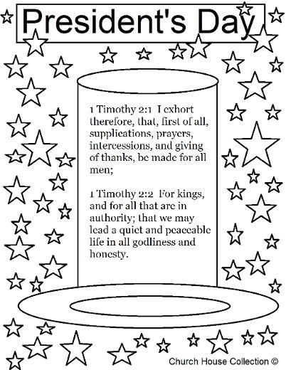 President's Day Coloring Page For Sunday School 1 Timothy 2:1-2