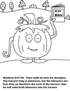 Free Pumpkin Coloring Pages For Sunday School Children's Church Preschool Kids by Church House Collection- Pumpkin Holding His Bible Coloring Sheet- Matthew 9:37-38 Harvest is plenteous but the labourers are few. Fall Festival Coloring Pages For Church.