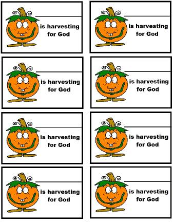 Pumpkin Harvesting for God Name Tags Pumpkin Sunday School lesson- Free Pumpkin Name Tag Printable Template For Kids by Church House Collection