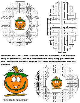 God's Pumpkin Patch Maze- Free Printable Maze Template For Kids in Sunday School or Children's Church by Church House Collection- Matthew 9: 37-38