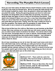 Free Pumpkin Sunday School Lessons For Kids- Children's Church Bible Study Worksheets Printable Template by Church House Collection