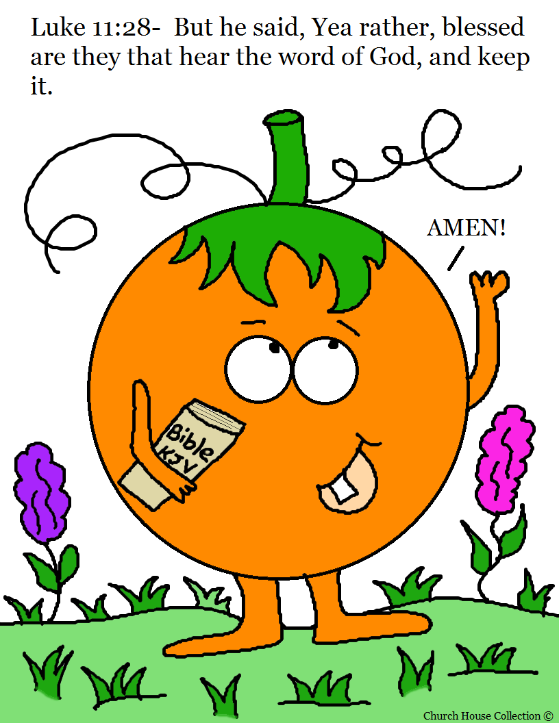 Pumpkin Holding a Bible Coloring Page Luke 11:28