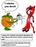 Pumpkin Coloring Pages Pumpkin Holding Bible Rebuking Devil Coloring Page