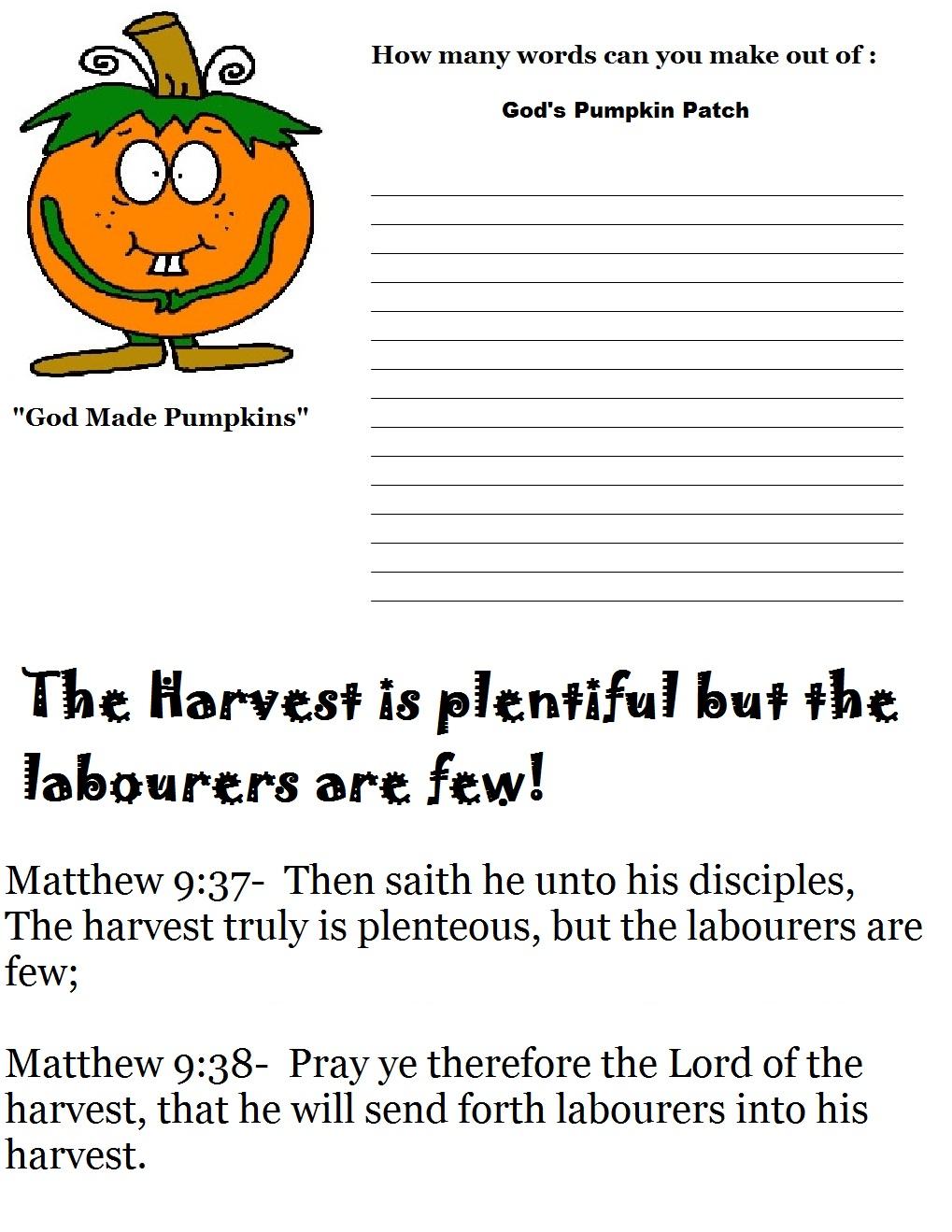 Pumpkin Sunday School Lesson Preschool Kids Fall Lesson Plans