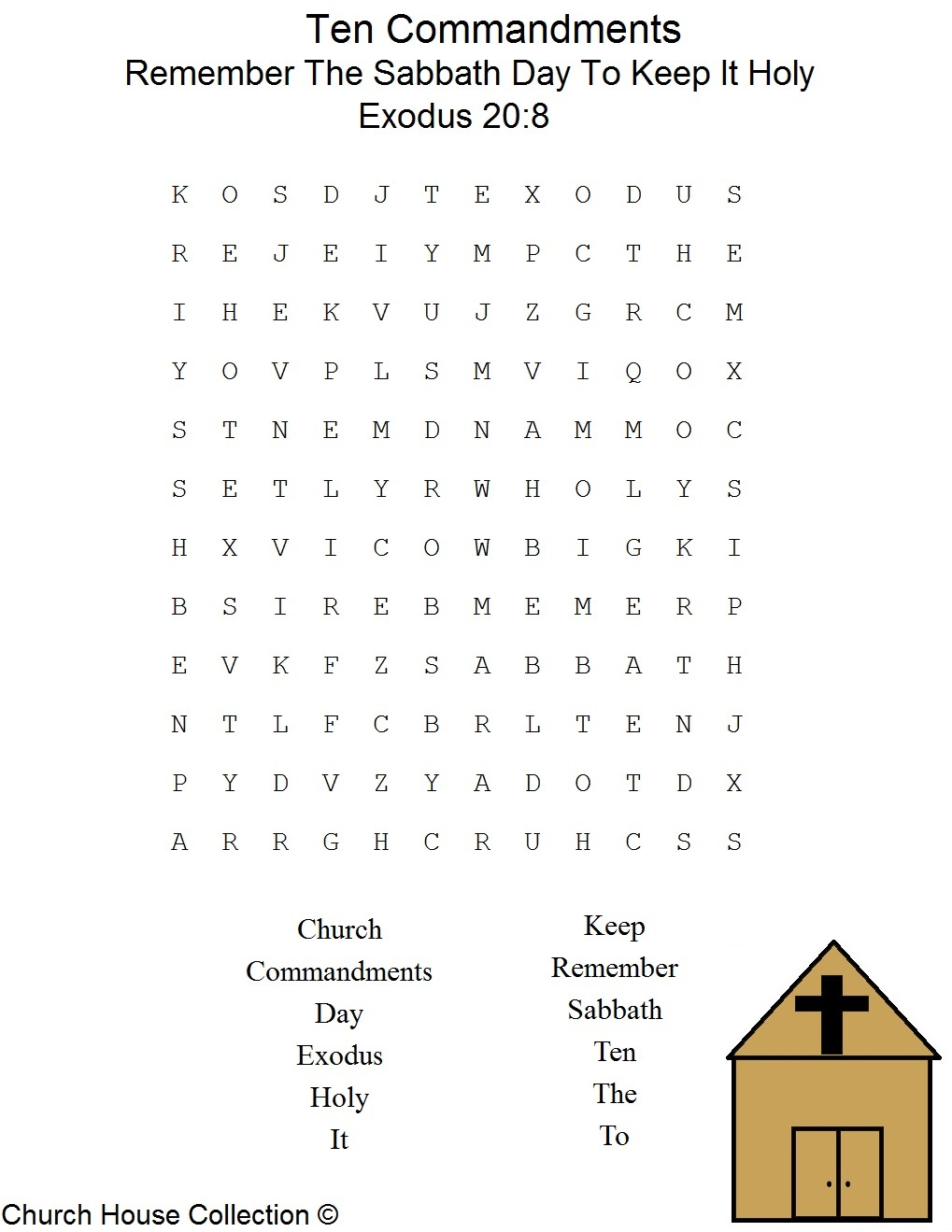 Remember the sabbath day to keep it holy word find for Keep the commandments coloring page