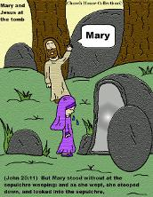 Mary and Jesus At The Tomb. Easter Resurrection Cartoon Clipart Picture by Church House Collection©