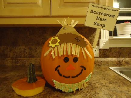 Scarecrow Hair Soup In A Pumpkin which is Chicken Noodle Soup- Pumpkin Sunday School Lessons For Kids Free Printable Templates for Sunday school kids by Church House Collection. Pumpkin Holding A Sign.