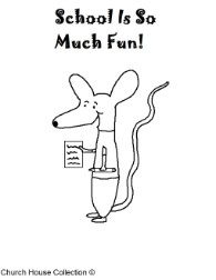 School is so much fun coloring pages mouse