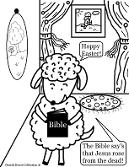 Easter Sheep With Bible Coloring Page