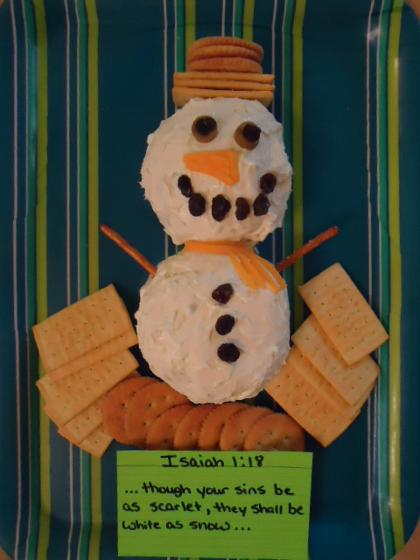 Snowman Cheeseball Snack ideas for kids in Sunday school, church or just for fun. Use this with our Snowman Sunday school lesson plan for kids. It's totally free!