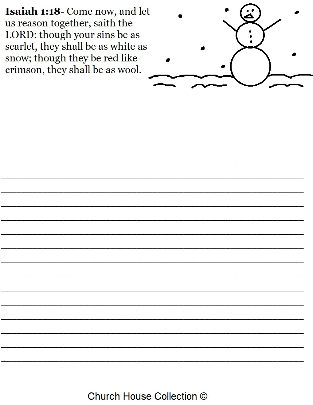 Free Christmas Snowman Isaiah 1:18 Writing Paper Printable Template for kids in Sunday school by Church House Collection- Christmas Sunday School lessons