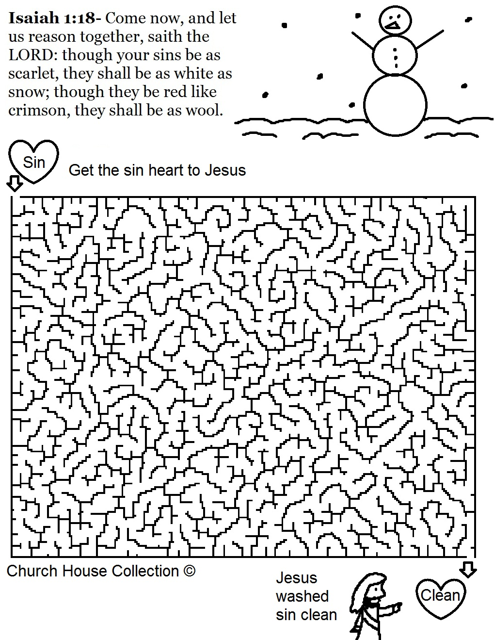 Free Christmas Snowman Isaiah 1:18 Printable Maze Template for kids in Sunday school. Use with our Free Christmas Sunday school lessons for kids. By Church House Collection.