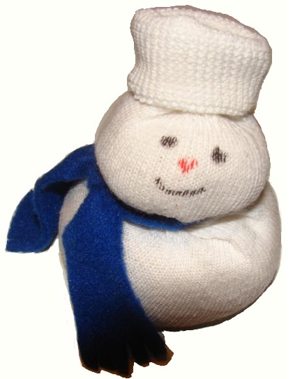 Free Christmas Snowman Sock Sunday School Craft idea for Kids in Children's Church by Church House Collection. Just fill the sock with rice. Use with our Free Christmas Sunday school lessons for preschool kids or toddlers.