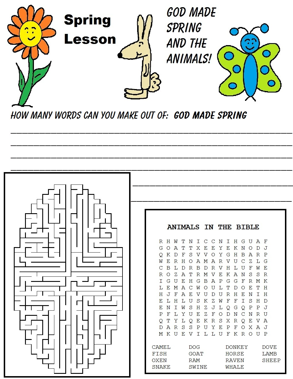Spring Maze, Word Search, Word in Word Activity Sheet