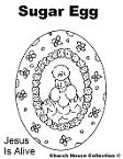 Sugar Egg Coloring Pages- Jesus is alive - Easter Coloring Pages