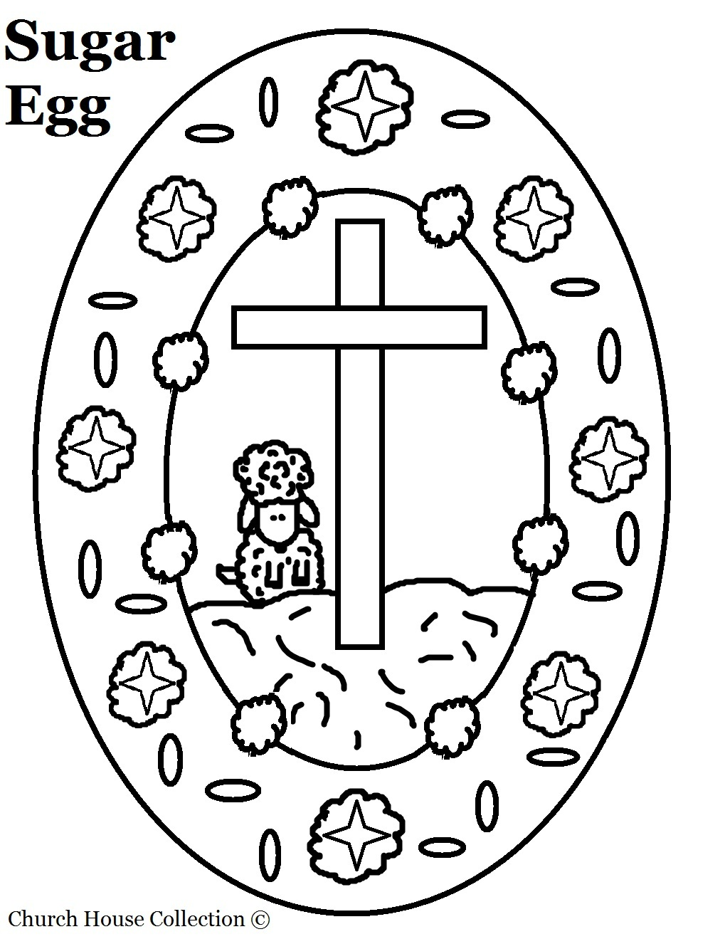 sugar egg with sheep and cross coloring page