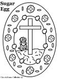 Sugar Egg With Sheep And Cross In Middle Coloring Page For Easter Sunday school