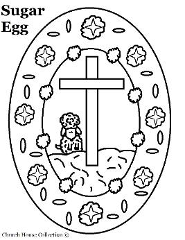 Sugar Egg With Sheep and Cross Coloring Page For Easter Sunday school