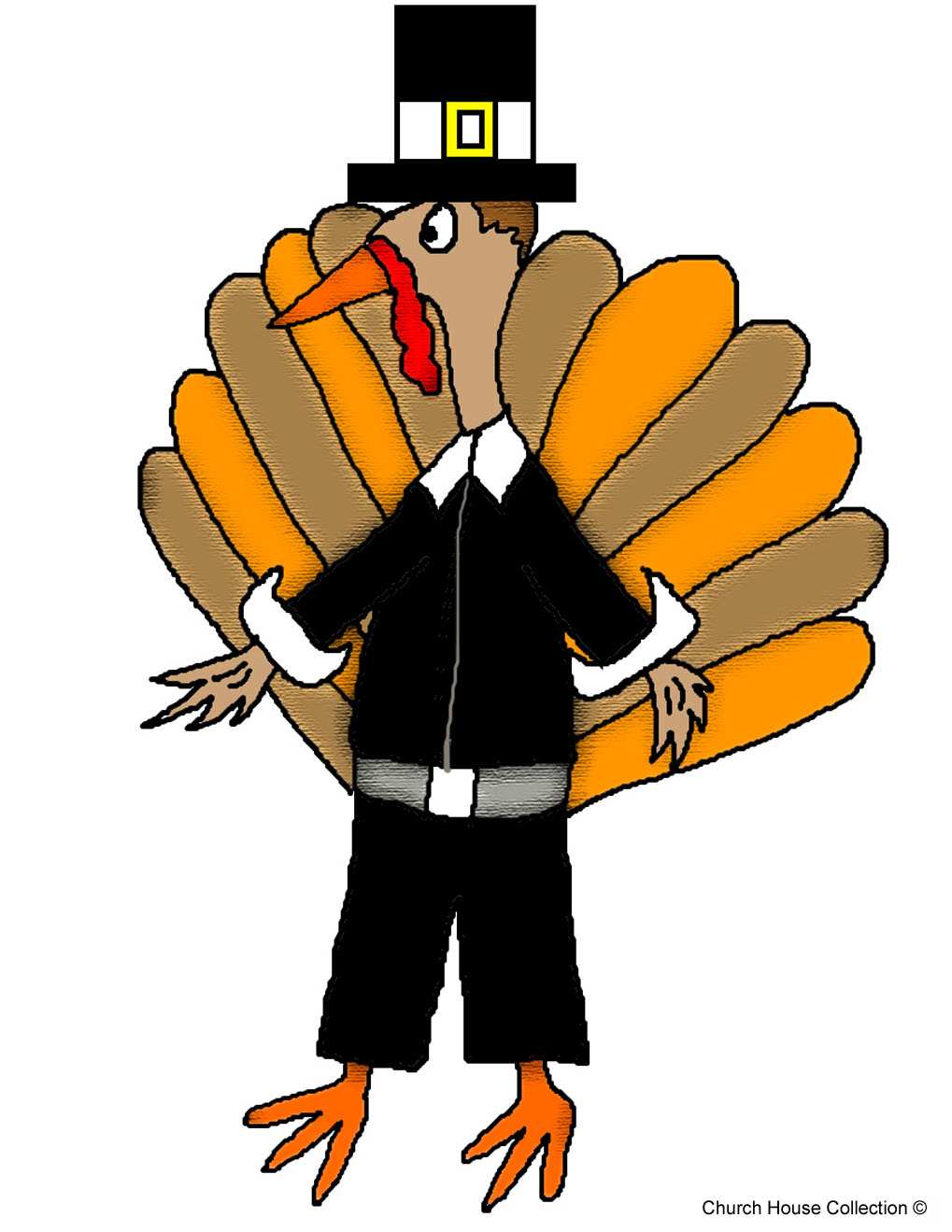 Free Thanksgiving Turkey Sunday School Lessons and Crafts for Childrens For Preschool Kids by Church House Collection- Turkey Wearing Pilgrim Hat and Outfit Clipart Cartoon