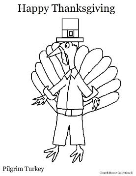 Thanksgiving Pilgrim Turkey Coloring Page
