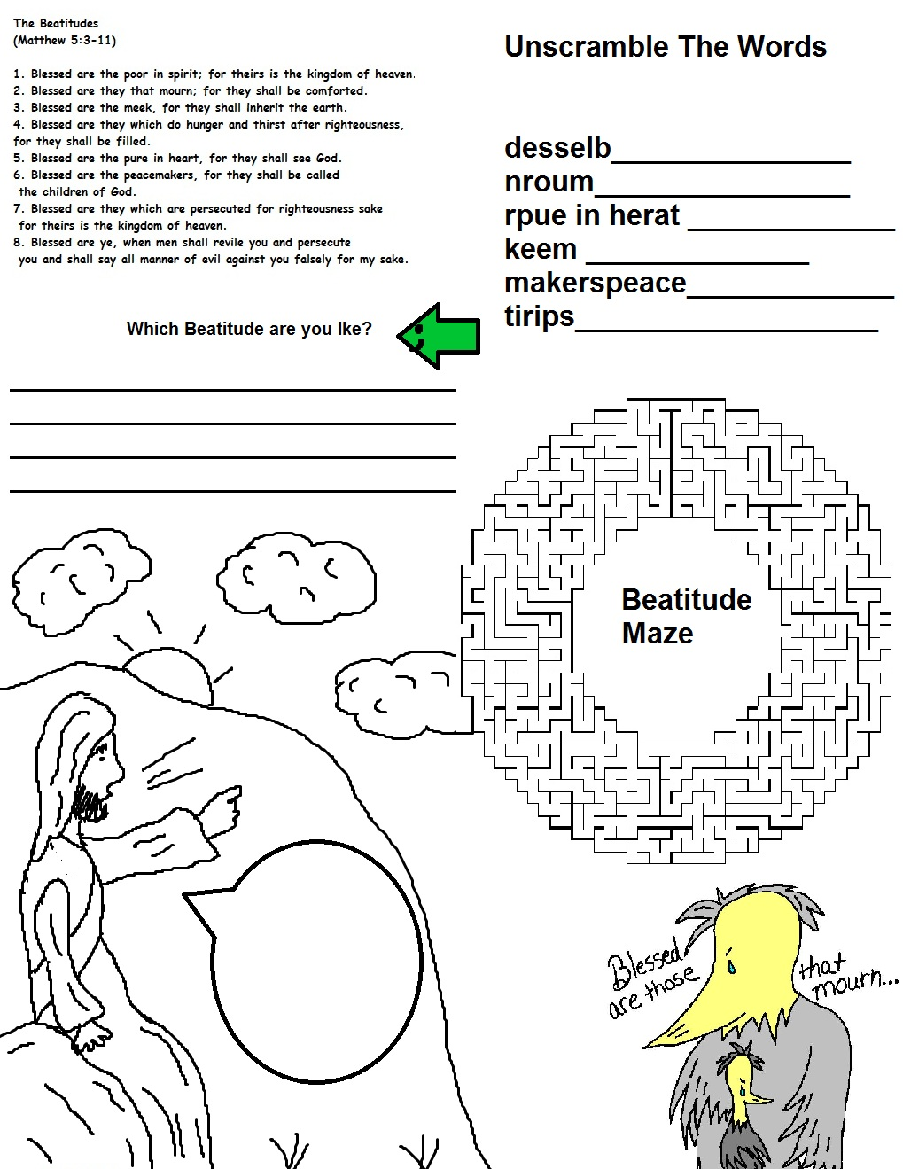 coloring pages beatitudes - photo#8