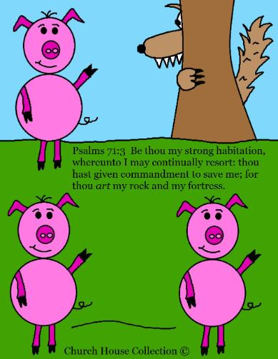 The Three Little Pigs and the big bad wolf story telling picture