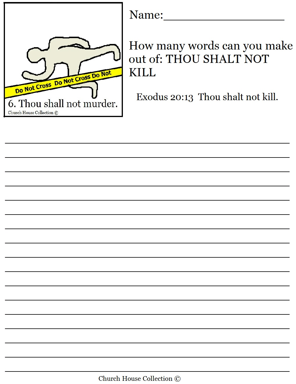 Thou Shalt Not Murder Worksheet How Many Words Can You Make?