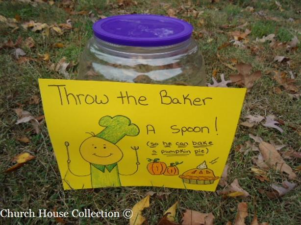 Fall Festival Games For Church- Throw the baker a spoon so he can bake a pumpkin pie game for kids