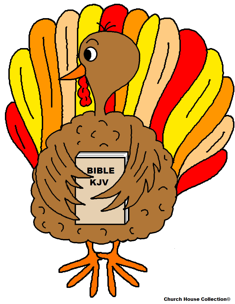 Free Turkey Thanksgiving Sunday School Lessons For Preschool Kids For Sunday School or Childrens Church by Church House Collection- Turkey Holding A Bible
