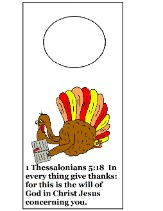 Thanksgiving Turkey Doorknob Hanger Craft- 1 Thess 5:18- Turkey Reading Bible Sunday School