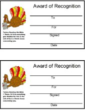 Turkey Reading Bible Give Thanks In All Things Award Certificate