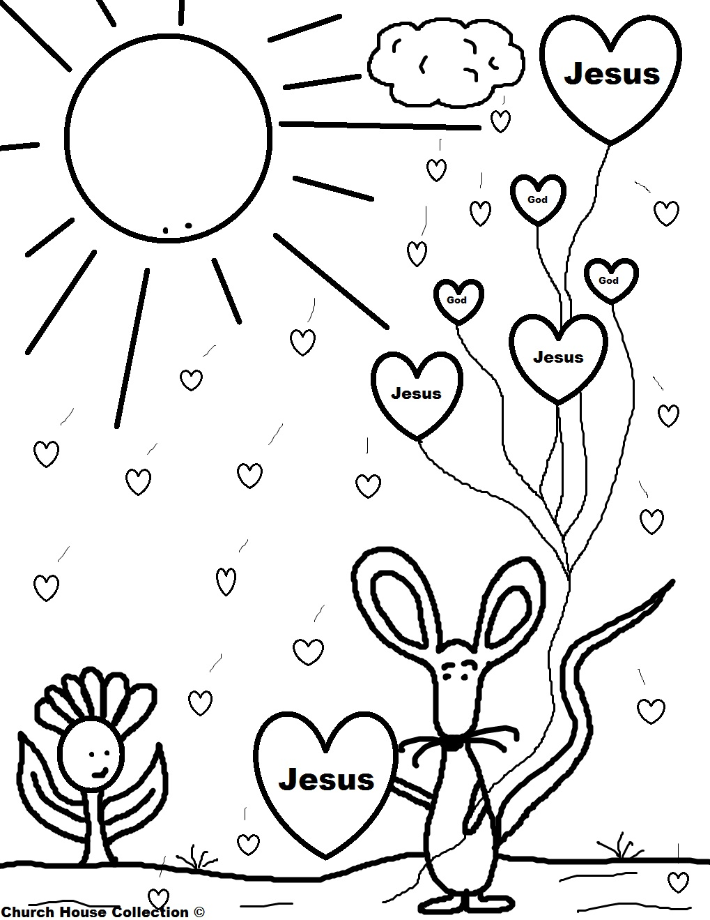 Jesus With Heart Valentine Coloring