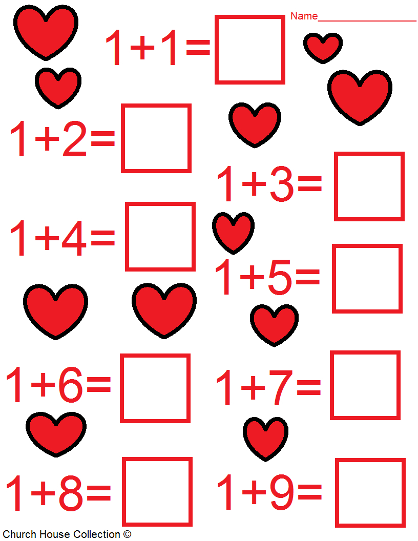 math worksheet : valentine s day math worksheets for kids : Kindergarten Free Math Worksheets