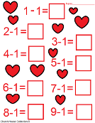 Valentine's Day Subtraction Math Sheets for Kids