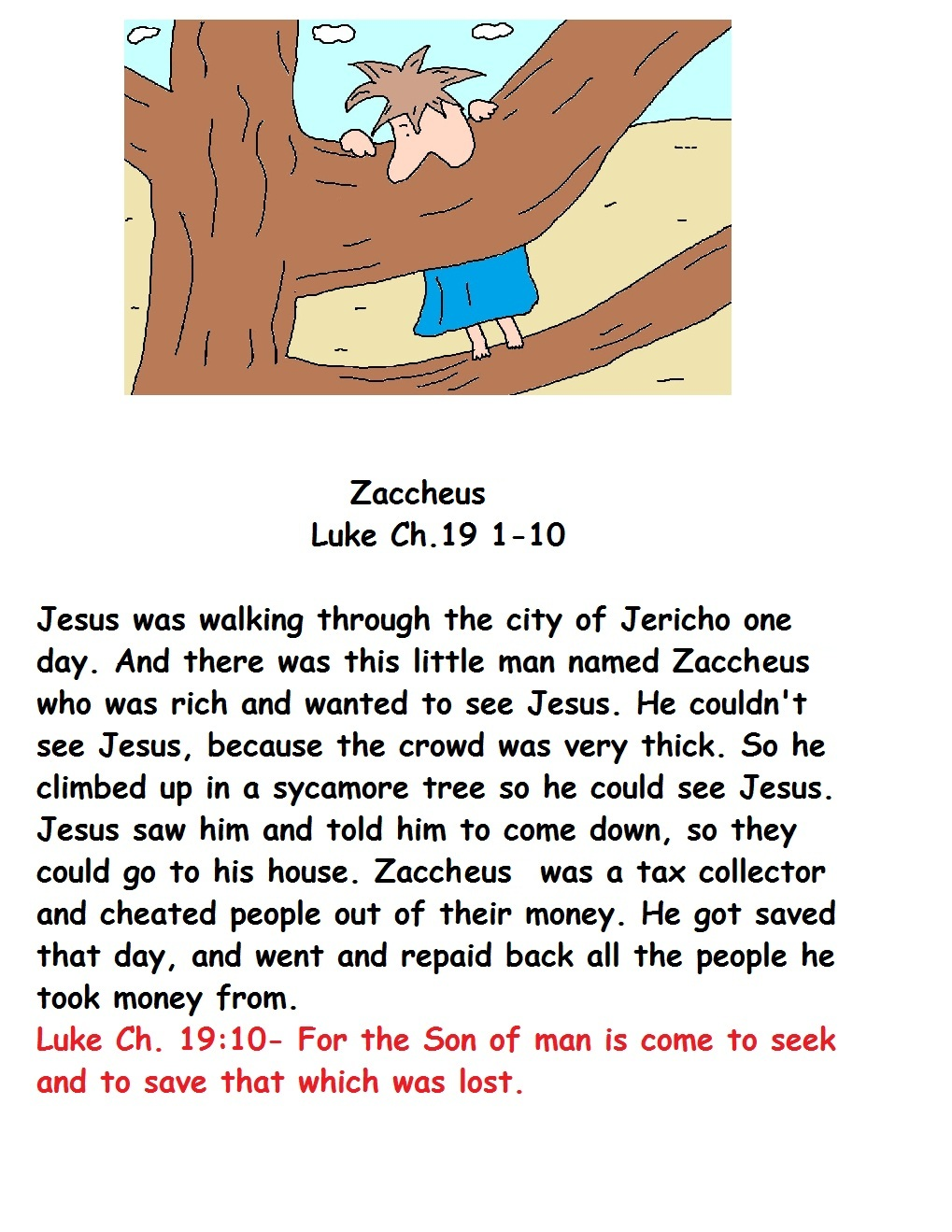 Zacchaeus Meets Jesus - All Christian Search Home Page