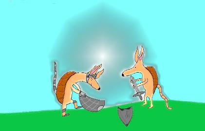 Armour of God Clipart Cartoon Picture Armadillo With Sword and Shield by Church House Collection©