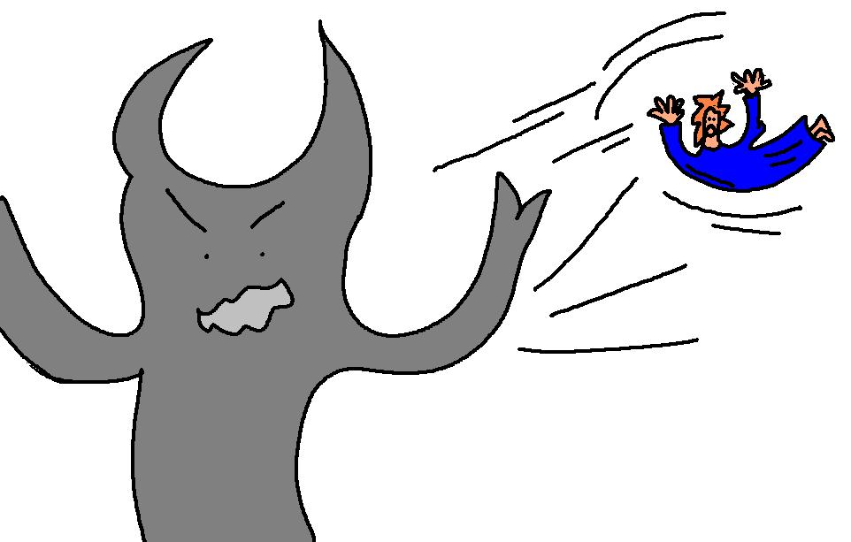 Devil Throwing Man Clipart