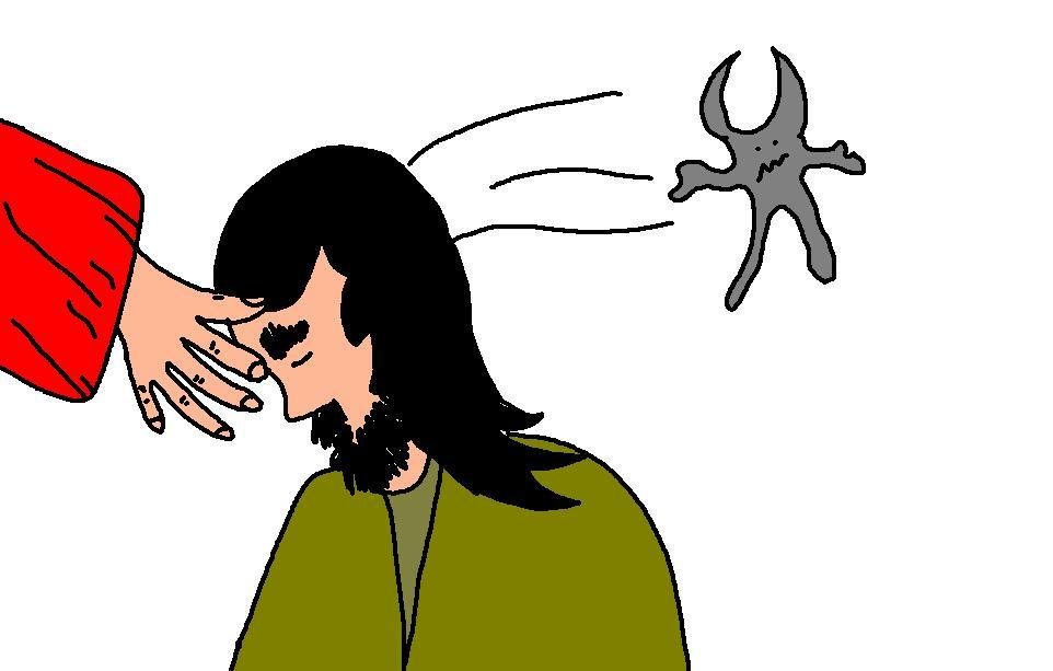 Jesus Rebuking Demon Clipart