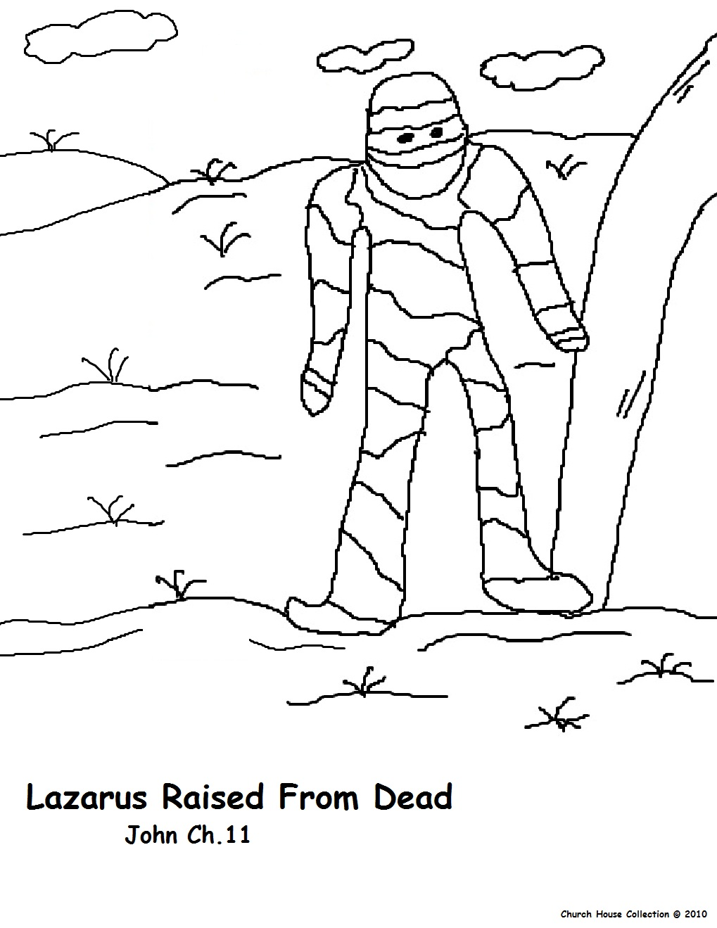 Lazarus Bible Story Coloring Page