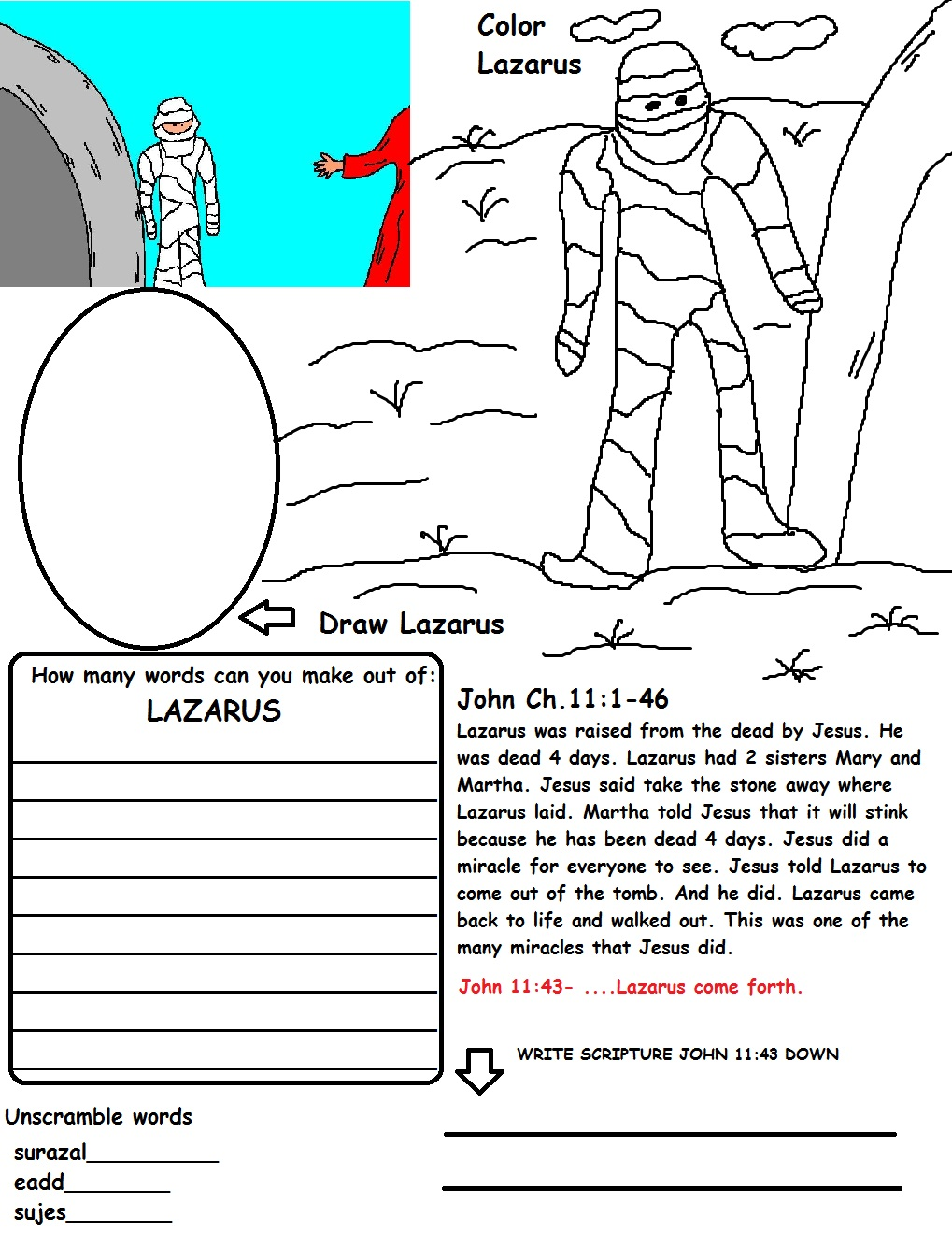 lazarus printable coloring pages - photo#31